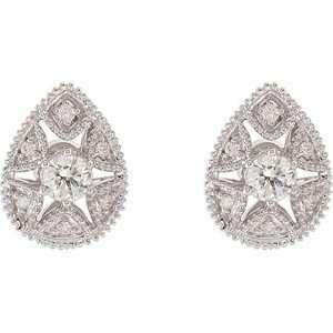 Pear Shape Stud White Gold Diamond Earrings with Star Shaped Cutout