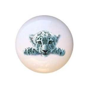 Snow Leopard Cub Drawer Pull Knob