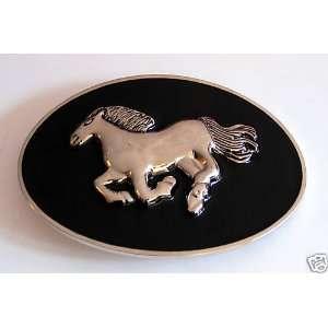 Western Wild Horse in Silver Ranch Cowboy Belt Buckle in Oval Black