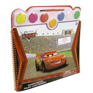 Spiral Bound Disney Cars Watercolor Paint & Design Story Coloring Book