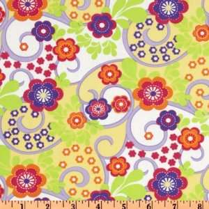 44 Wide Spring Fever Flower Dance White/Multi Fabric By