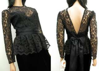 NOS Black Velvet Lace Prom Dress Gown 9 S M Gunne Sax Open Back