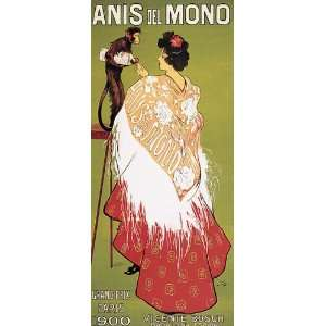 MONKEY ANIS DEL MONO GRAND PRIX PARIS 1900 SMALL VINTAGE POSTER CANVAS