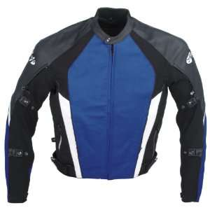 Joe Rocket Pro Street Mens Leather Motorcycle Jacket Blue