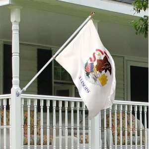 Illinois 3x5 foot Tornado porch flag kit   silver anti
