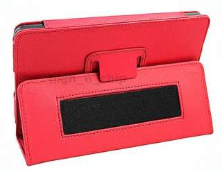 Leather Folio Case Pouch Stand w/ armband for  Kindle Fire RED