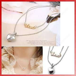 Fashion Double Layer Love Character and Peach Heart Pendants Necklace