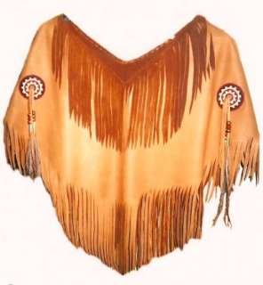 Native American Ladies Leather Yoke   Shirt Vest Shawl