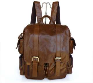 Mens Brown Comping Backpack Travel Bag Bookbag Handbag Messenger Bag
