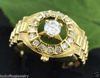 18K 0.72 CT MENS DIAMOND RING YELLOW GOLD WATCH STYLE