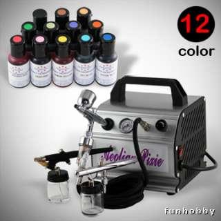 New 12 Ameri Colors Cake Decorating Kit w/ 3 Airbrush Air Compressor