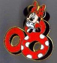 MINNIE Red Polka Dots 08 Disney 2008 MICKEY+FRIENDS Pin