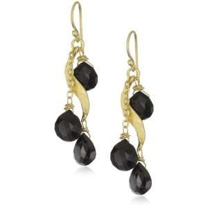 Heather Benjamin Sea Onyx Briolets with Gold Plated Earrings
