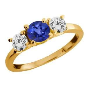 Round Blue Mystic Topaz and Diamond Gold Plated Silver Ring Jewelry