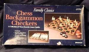 Family Classics Chess Backgammon Board Game 1993