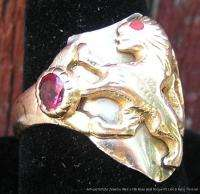 Antique Estate 14k & 18k Rose Gold Mans Ring Lion Ruby c1880
