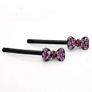 Bow Pattern Alloy with Pink Rhinestone Hair Bobby Pins /Sticks /Clips