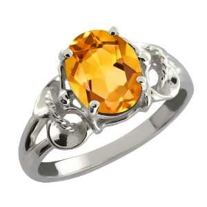 1.15 Ct Oval Yellow Citrine Argentium Silver Ring Jewelry