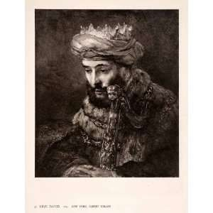 1942 Photogravure Rembrandt Artwork King David Royalty