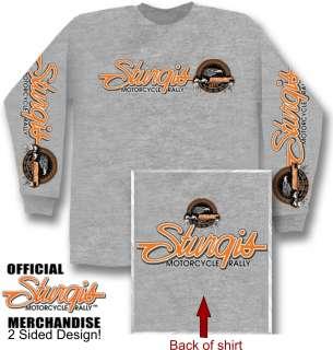 BIKER STURGIS EAGLE 2011 LONG SLEEVE T SHIRT ASH