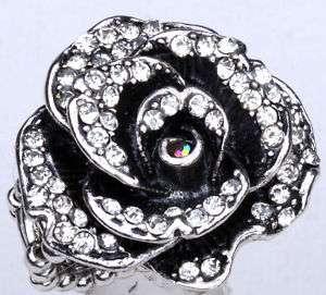 Clear swarovski crystal flower stretch ring jewelry 5