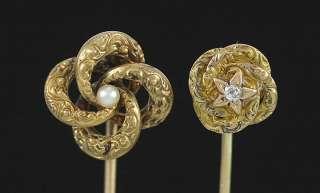 14K Yellow Gold Pearl & Diamond Love Knot Stick Pins