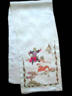 Vintage Hand Painted Scarf 1920'S 5 Toes Dragon & Warrior Motif