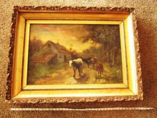 RARE R ATKINSON FOX Antique ORIGINAL OIL Painting  EVENING  Cows ART
