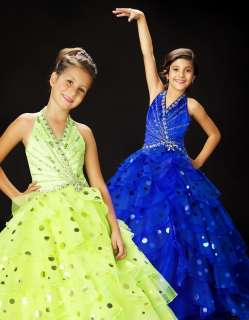Size 4 Lime GIRLS NATIONAL PAGEANT DRESS QUINCEANERA BALLGOWN NWT