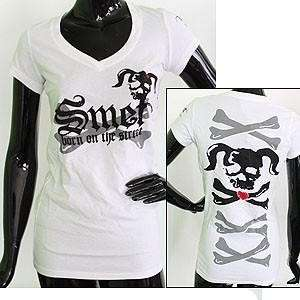NWT Smet T Shirts/Top Grit Skull White 100%Authentic