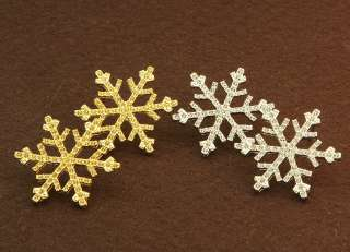 Pairs Of Snow Flake Gold & Platinum Plated Stud Earrings For