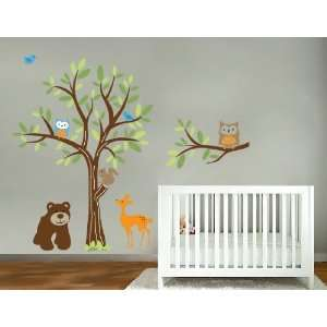 tree branch set and bear owls birds deer all you need