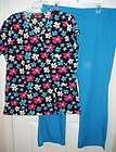 Womens Scrub DICKIES Blue 2pc set Outfit Top Pants Scrubs Size Medium