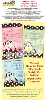 Adorable Monkey Custom Baby Shower Invitations   UPRINT