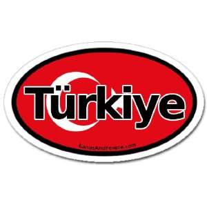 Türkiye Turkey in Turkish TR Flag Car Bumper Sticker