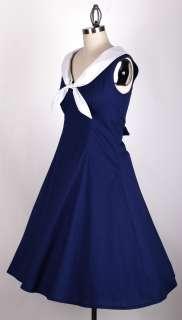 50s Vintage Navy Blue PLUSSIZE 3X Sailor Dress Rockabilly Retro Pinup
