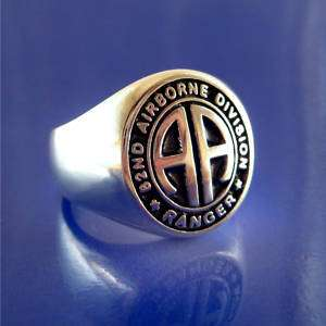 Army 82nd Airborne Ranger Ring   Sterling Silver