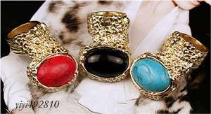 Korean fashion Delicate Gold Tone Big stones Ring,Sz6/R20