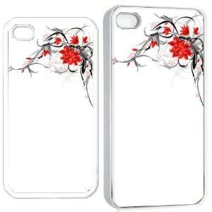 flower art iPhone Hard 4s Case White Cell Phones & Accessories