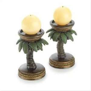 2 Palm Tree Tropical Candle Holder Home Candleholder: Home