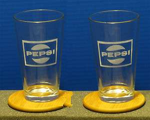 SET OF 2 ETCHED OLD PEPSI SQUARE LOGO PINT GLASSES
