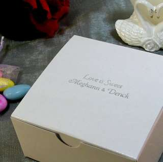 Wedding Favor Candy Party Treat Gift Box   4x4x2 50 pcs WHITE