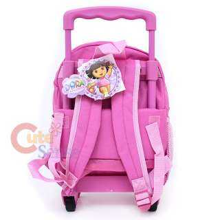 Dora & Boots School Rolling Backpack Roller Bag 12 Pink Crayon
