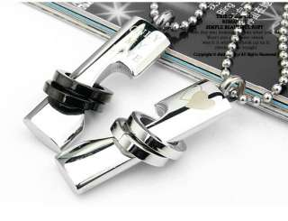 Stainless Steel Two Rings Lovers Pendant Necklace Set