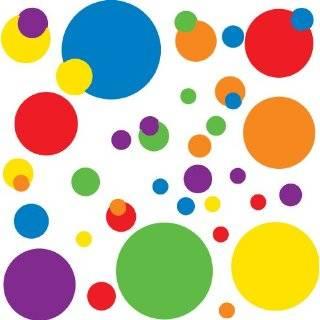 Set of 130 Sky Blue and Lime Green Polka Dots Circles Wall
