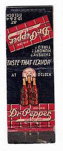 Vintage Dr. Pepper Soda Matchbook 3 bottles clock .