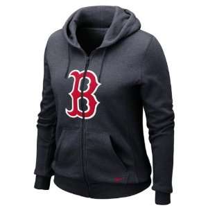 Red Sox Womens Nike Heather Black Seasonal Full Zip Hooded Sweatshirt