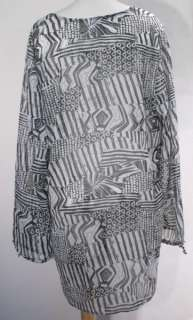 Black White Printed Swimsuit Cover Up Tunic S Small NWT $88 NEW