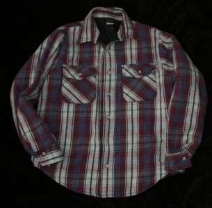 Vtg Deerskin Plaid Flannel Quilted Shirt Jacket Men M