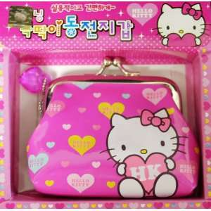 Pink Hello Kitty Clutch Wallet Coin Purse w/ Heart Design